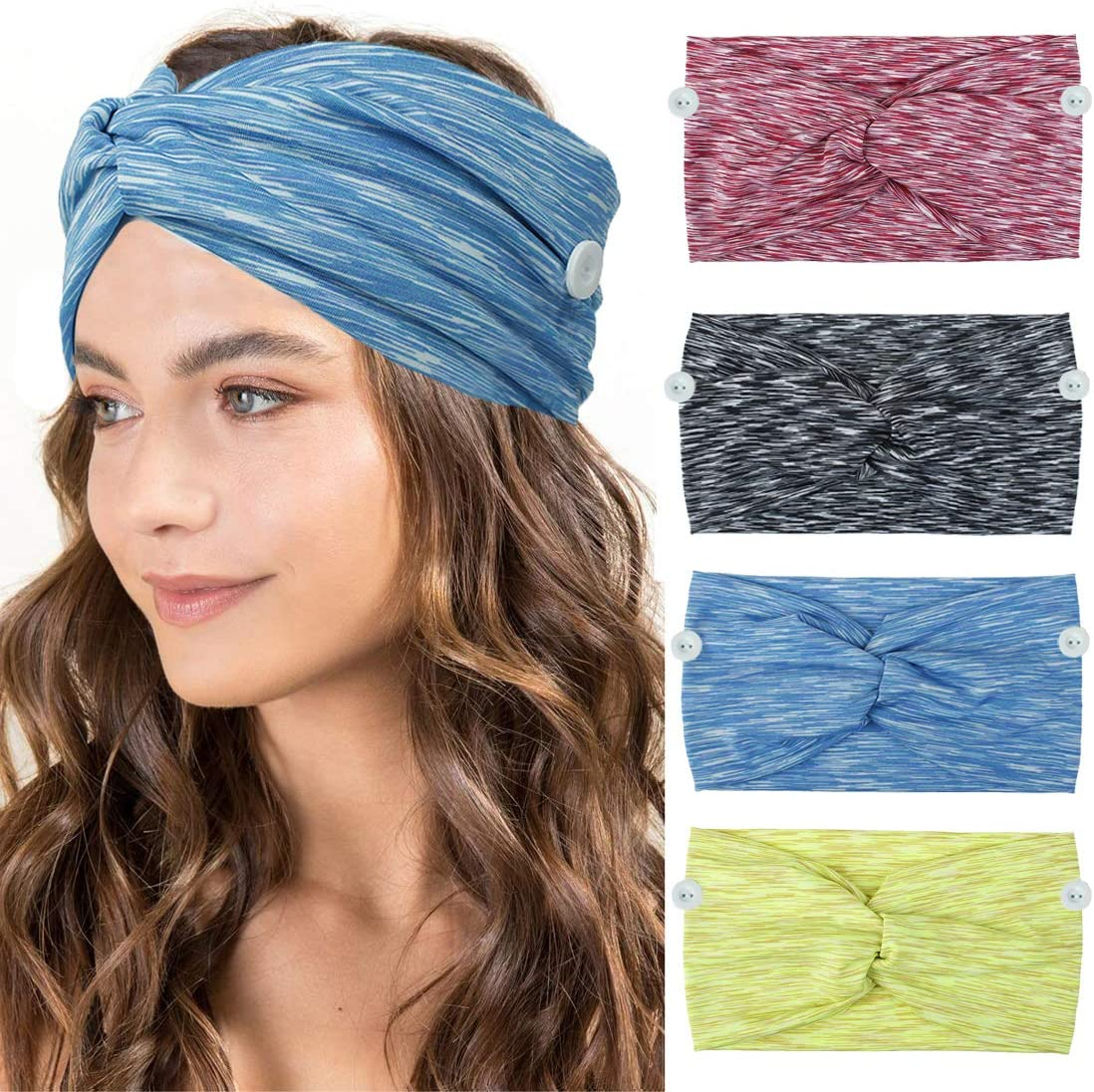 Diademas con botones para enfermeras Doctores Mujeres Twisted Criss Cross Turbante Headwrap Banda elástica para el cabello