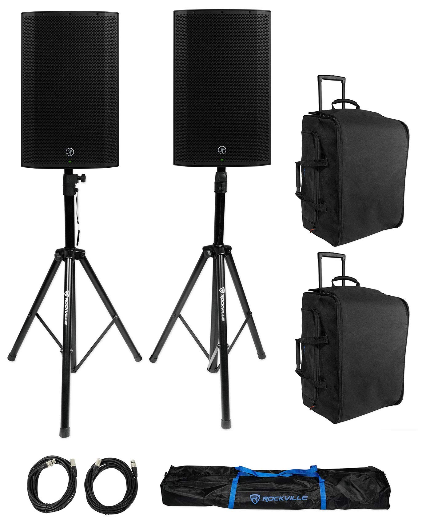 (2) Mackie Thump15A THUMP-15A 15'' 1300 Watt Powered DJ PA Speakers+Bags+Stands by Mackie