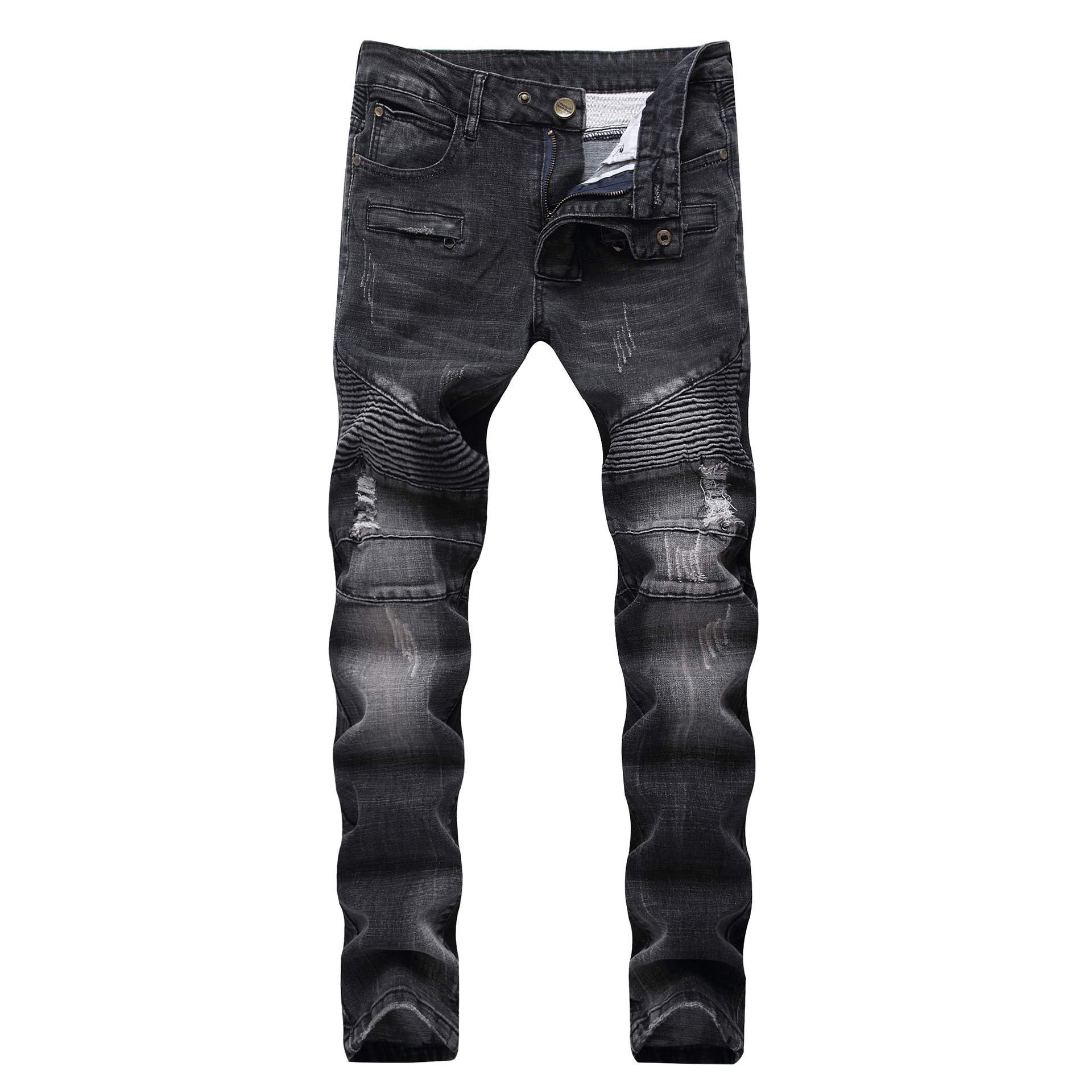 Liuhond Skinny Fashion Men's Ripped Straight Holes Hip Hop Biker Stretchy Jeans (32Wx31L, 109black)