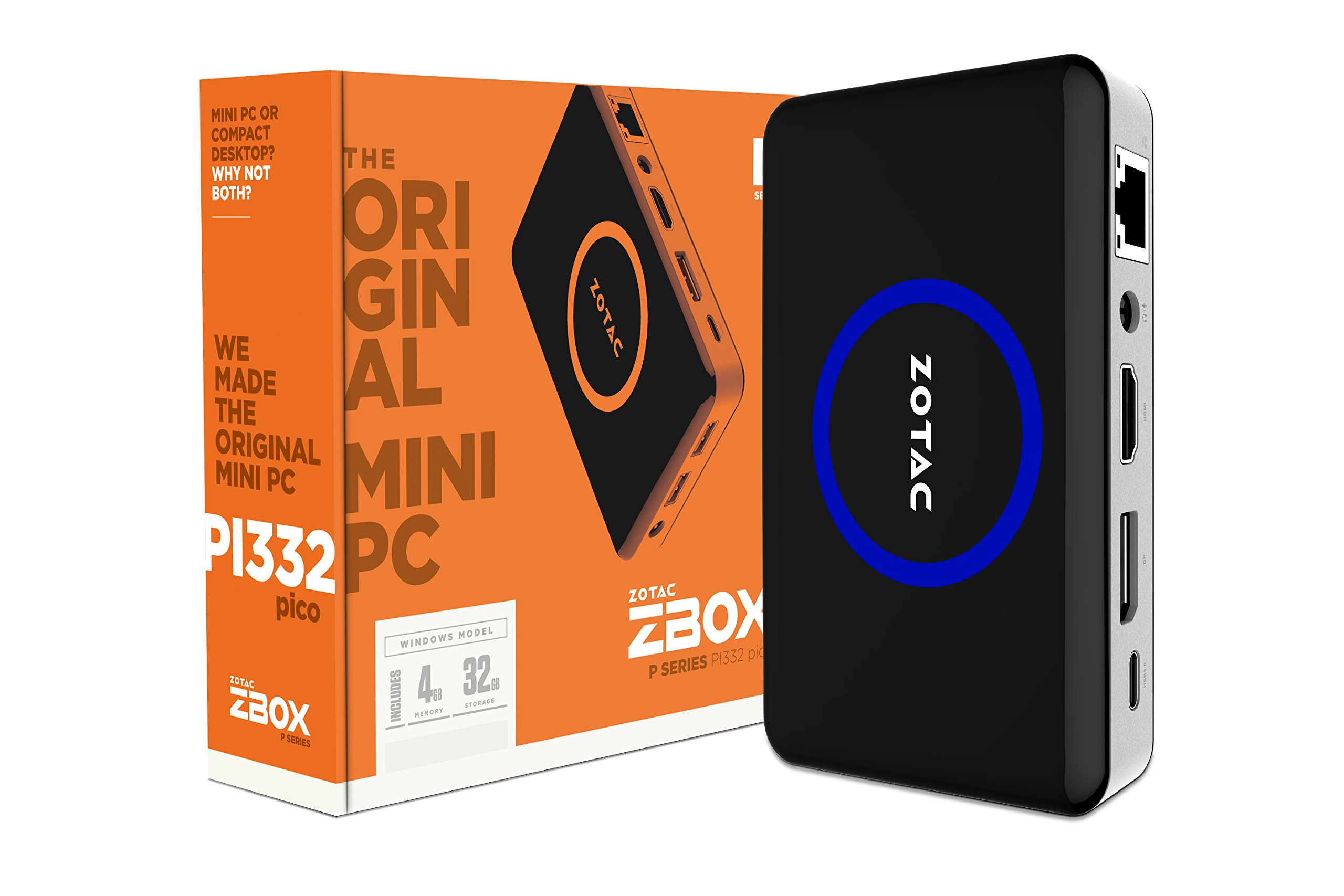 ZOTAC PICO ZBOX-PI332-W2B Intel Atom x5-Z8500 1.44GHz 4GB LPDDR3 32GB eMMC Intel HD Graphics Windows 10 Home Mini PC by ZOTAC