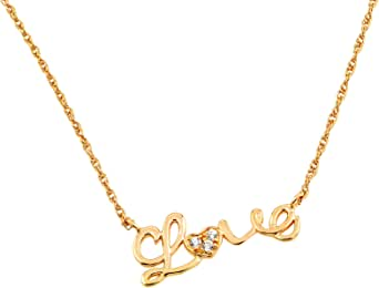 Sterling Silver Gold Plated Love With Heart Cz Necklace 16 Inch Plus 2 Inch Chain