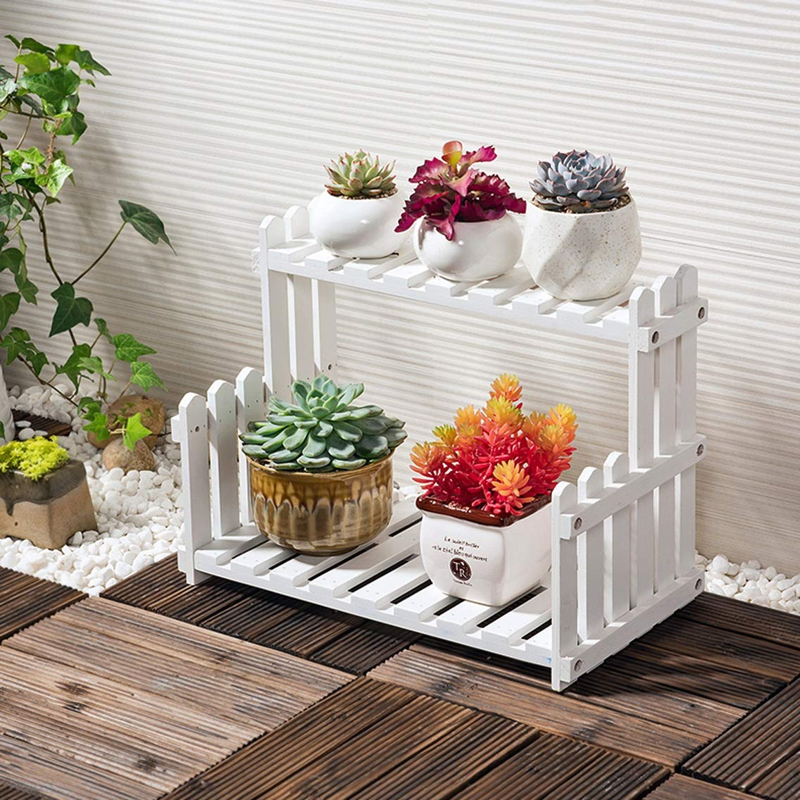 HZB Wooden Flower Rack, Living Room Balcony, Multi-Storey Flower Pot Rack