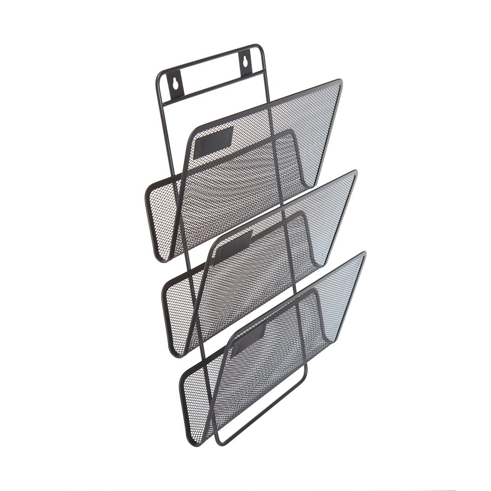 Comix Wall Mount Document Letter Tray with 3 Organizers, Wired Mesh Design, Durable Metal - Black