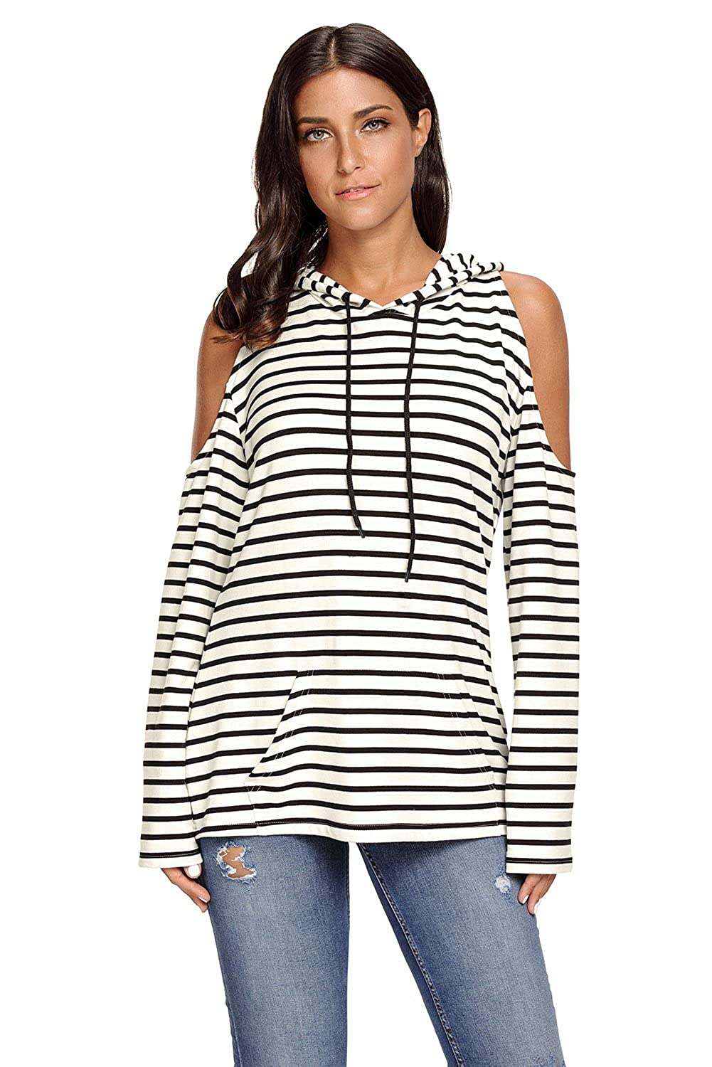 86dbd72d28c1a4 Fantasy Star Women Fashion Navy White Striped Cold Shoulder Long Sleeve Top  at Amazon Women's Clothing store: