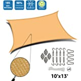 DOEWORKS Rectangle 10' X 13' Sun Shade Sail with Stainless Steel Hardware Kit, Idea for Outdoor Patio, Sand