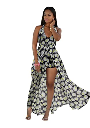 Womens V Neck Floral Maxi Dress Overlay Rompers Jumpsuit - -