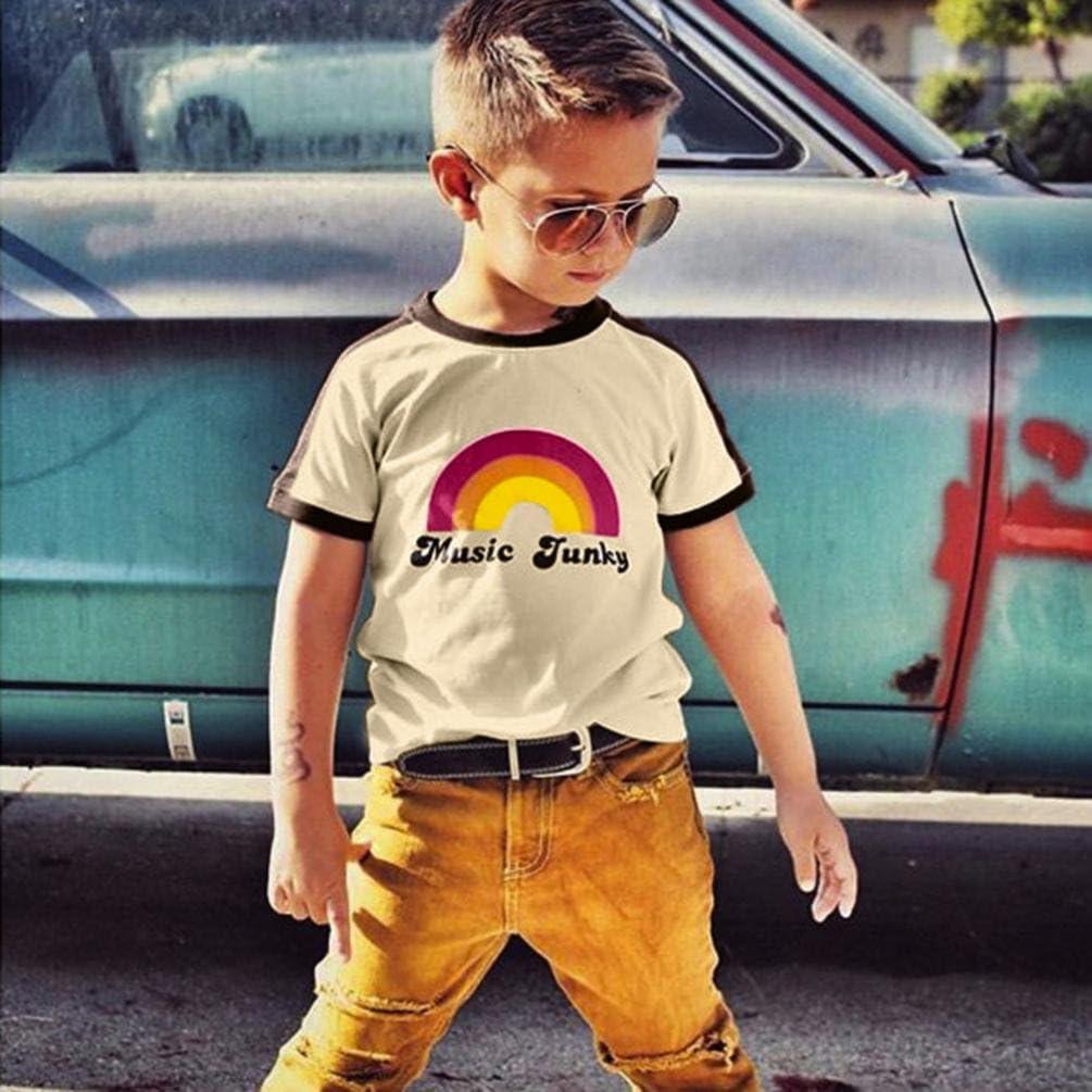 Memela Kids Children Baby Girls Boys Letter Rainbow Soft Tops Cute T-Shirt Clothes