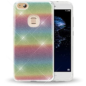 NALIA Purpurina Funda Compatible con Huawei P10 Lite, Carcasa Protectora Movil Silicona Ultra-Fina Glitter Gel Bumper Estuche, Lentejuela Cubierta ...