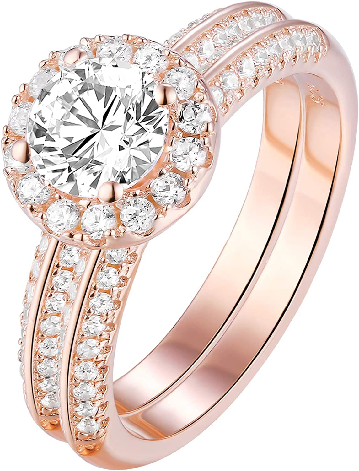 Amazon Com Newshe Rose Gold Engagement Wedding Ring Sets For Women 925 Sterling Silver Round White Cz Size 5 10 Jewelry
