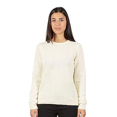 più recente 683b6 b1f45 BRUNELLA GORI Maglione Pullover Donna Girocollo con Cuoricino in Strass Blu  sul Collo - 100% Lana Color Bianco Crema