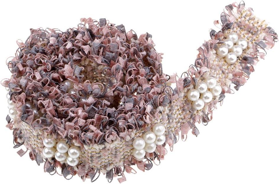 Baoblaze Hermoso Encajes para Decorar Vestidos Decorativo Encaje Bordado con Cuentas de Plástico - Rosa Gris