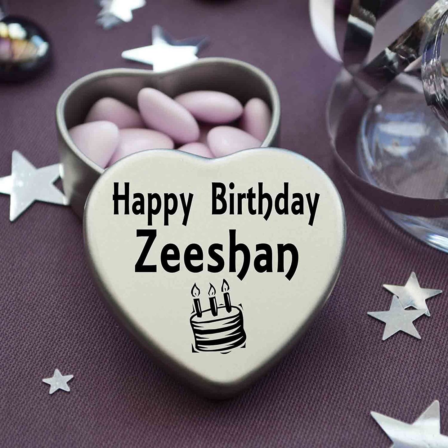 Happy Birthday Zeeshan Mini Heart Tin Gift Present For Zeeshan WIth