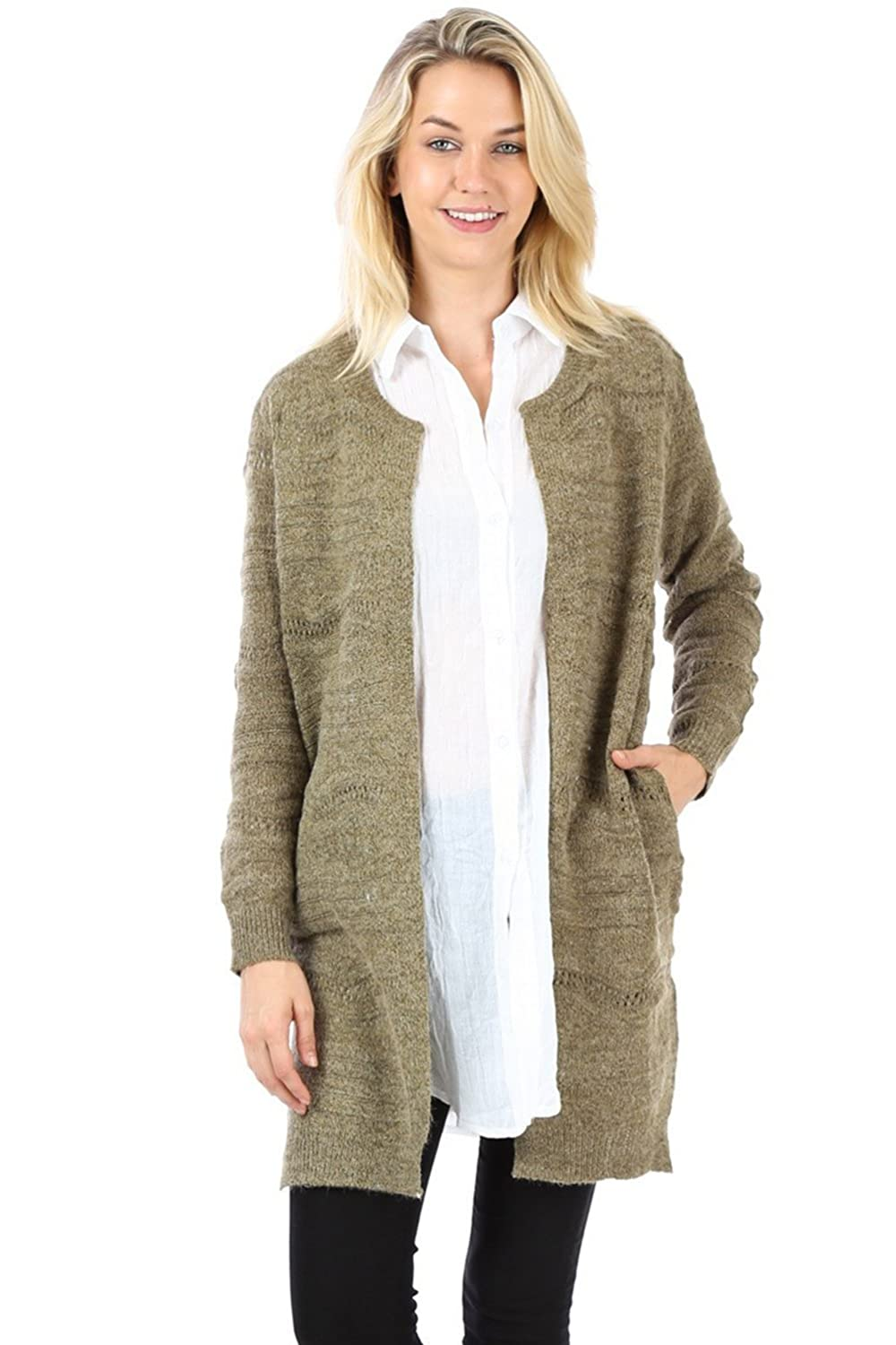 Bubble B Women's Long Sleeve Knitted Open Front Cardigan Olive Green One Size