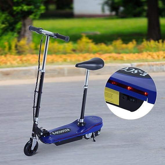 HOMCOM Scooter Eléctrico con Luz LED Monopatín Patinete Plegable con Manillar Asiento Ajustable Freno y Pie de Apoyo 120W Carga 50kg 81.5x37x96cm ...