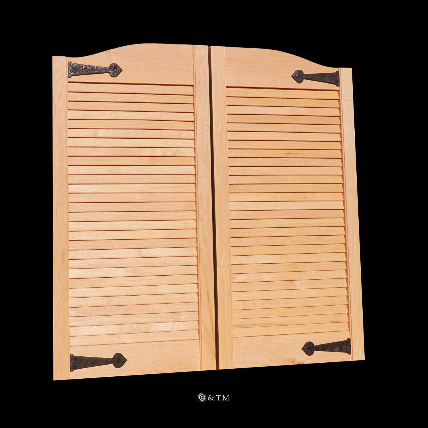 Hinges Included Custom Iron Accents Hardwood from Managed Forestry Prefit for 30W Finished Opening Louvered Alder Wood Cafe Doors Cafe Doors by Cafe Doors Emporium Saloon Swinging Door