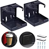 2PCS Adjustable Folding Drink Holder/Adjustable Cup Holder for Marine/Boat/Caravan/Car/Trucks/RVs/Vans (Black)