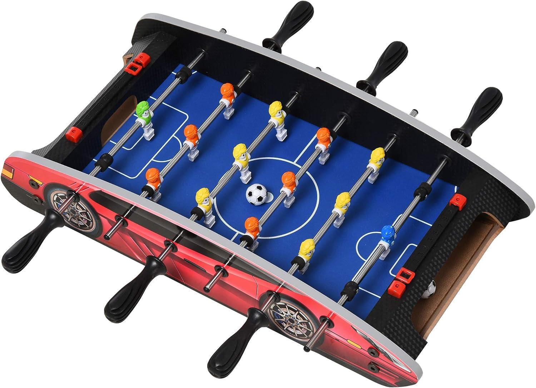 HOMCOM Mesa de Futbolín de Sobremesa Todo Incluido con 14 Jugadores para Niños Mayores de 8 Años Robusto Divertido 49x24,2x10,1 cm Rojo: Amazon.es: Juguetes y juegos