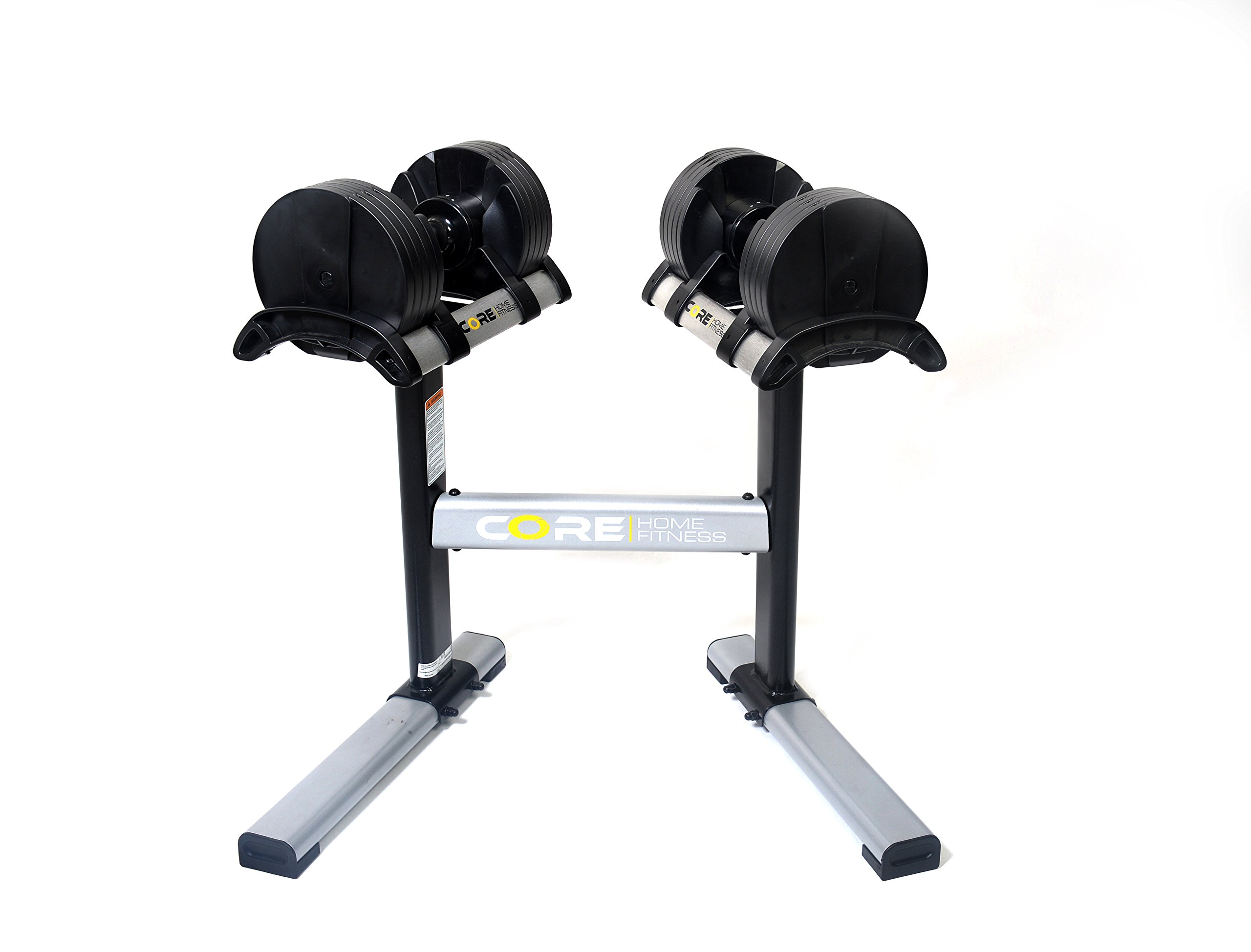Core Home Fitness Adjustable Dumbbell Set & Stand By Space Saver - Dumbbells For Your Home - Weights -