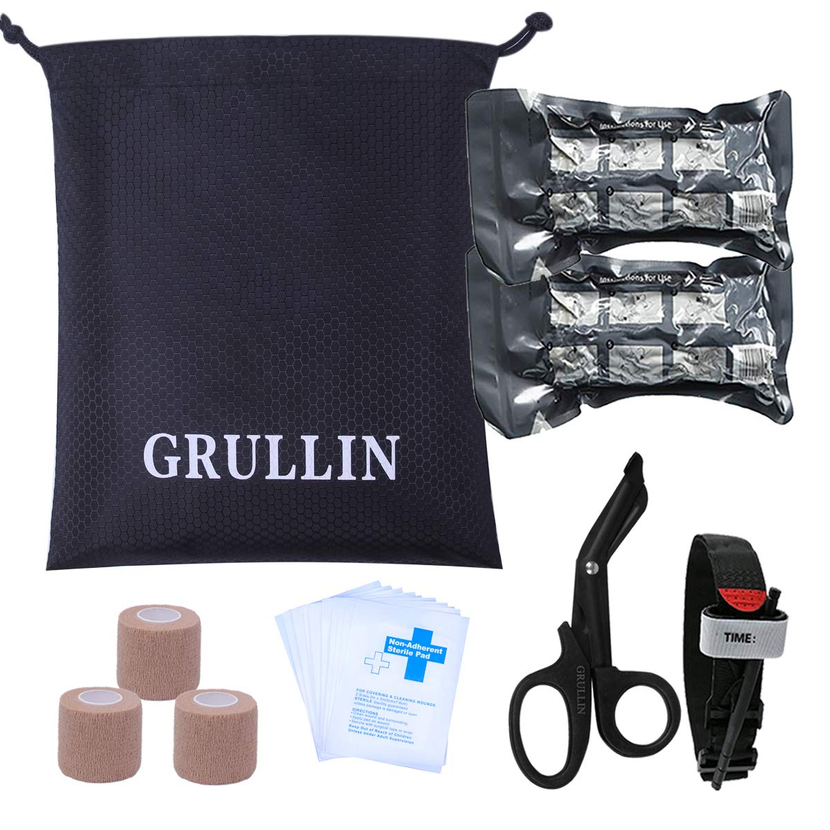 GRULLIN Tactical First aid Accessories Supplementary Kit-Tourniquet,Israeli Bandage,Self-Adhering Bandage,Medical EMT Scissors (Basic Kit) by GRULLIN