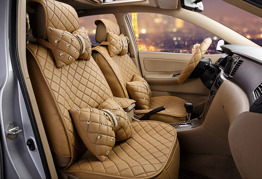 18pc superior quality luxury Beige Seat Covers imitation leather Seating Universal Full Set car seat cover Easy to install Fit Most Car
