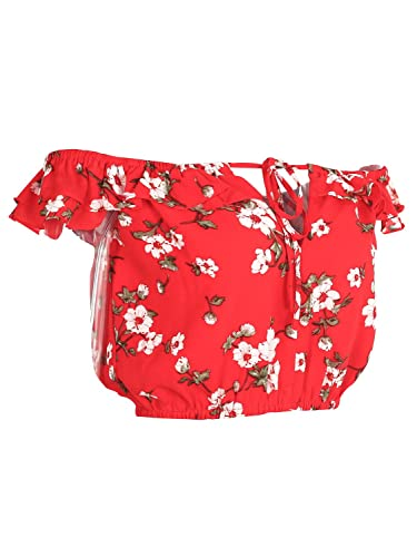 Simplee Apparel Sinplee Apparel Women 's floral print Frill Off Shoulder crop top Blusa rojo
