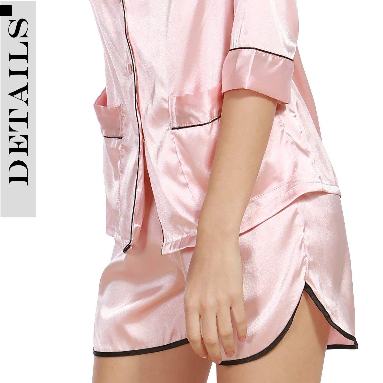 Camicia da Notte Donna Luxury Controllare Bottoni Camicia Collare con Pocket Chemise Corto Camicia da Notte Morbida Pigiama Pigiami in Raso Dolamen Pigiama per Donna