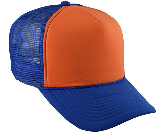 39080d3a9 Royal Blue and Orange Industrial Mesh Trucker Style Cap Hat Caps Hats  Adjustable