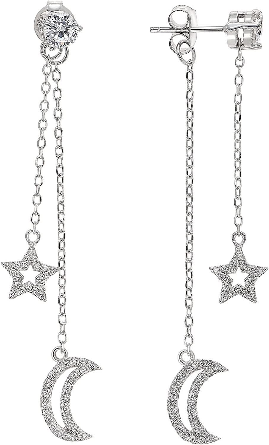 Sterling Silver Star and Moon Dangle Earrings with Solitaire and Pave Cz