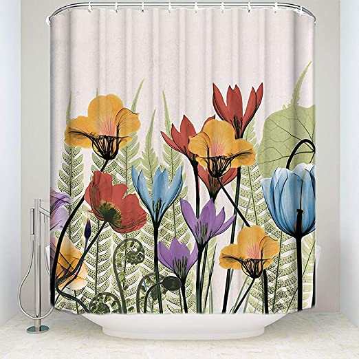 Elaine-Shop Cortina de Ducha de Tela para baño - 55 x 72 Jardín de casa Pintura Flores Arte Impermeable Decoración de baño Cortinas Set 12 Ganchos incluidos: Amazon.es: Hogar