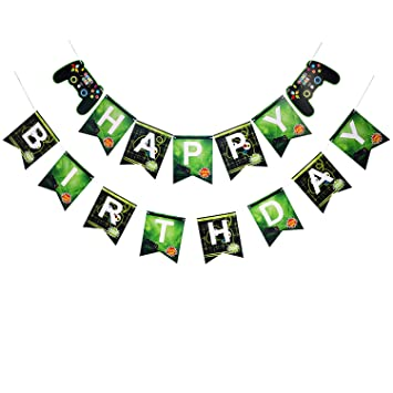 atimier Gaming Party Banner Videojuego Cumpleaños Banners ...