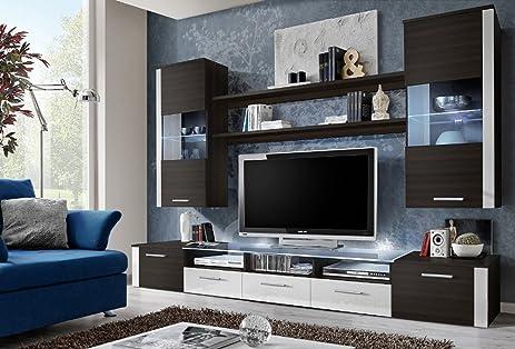 Amazoncom FRESH Modern Wall Unit Entertainment Centre Spacious