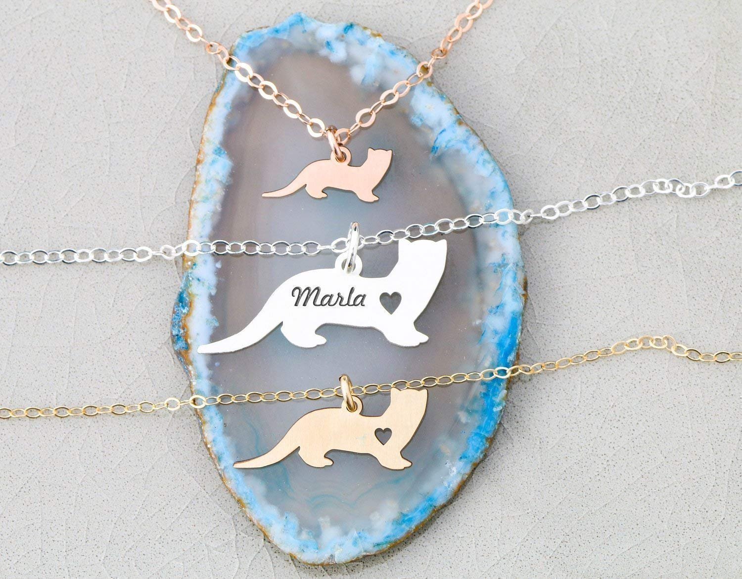 a9c8dc8f6c8e9 Ferret Necklace - Weasel - IBD - Personalize Name Date - Pendant Size  Options - 935 Sterling Silver 14K Rose Gold Filled