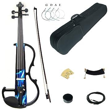 Kinglos 4/4 fuego color sólido madera intermediate-b Kit de/Violín silencioso eléctrico con accesorios de ébano tamaño completo: Amazon.es: Instrumentos ...