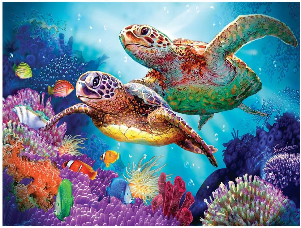5D Diamond Painting Kits for Adults Kids, DIY Round Turtle Full Drill Rhinestone Art Craft for Home Wall Decor - 15.7x11.8Inches