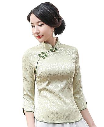 2de1887c470 Shanghai Story Women 3 4 Sleeve Chinese Cheongsam Top Tang Suit Blouse S  Green