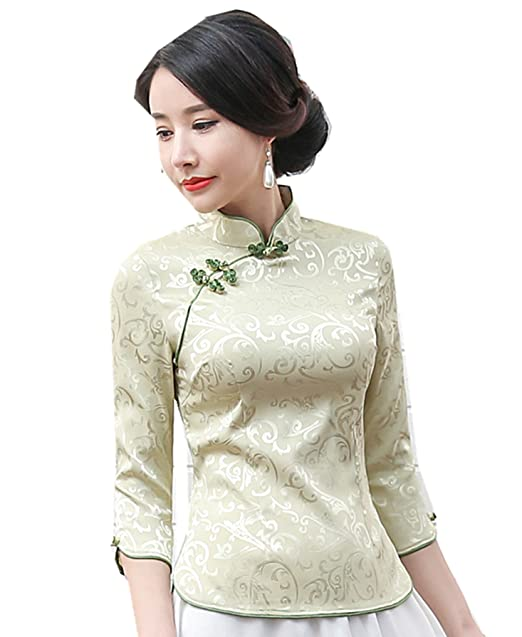 2de1887c470 Shanghai Story Women 3 4 Sleeve Chinese Cheongsam Top Tang Suit Blouse S  Green