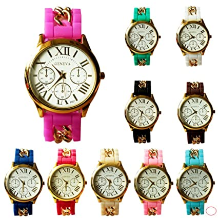 BuyTerest ginebra de las mujeres al por mayor de platino 12 varios reloj