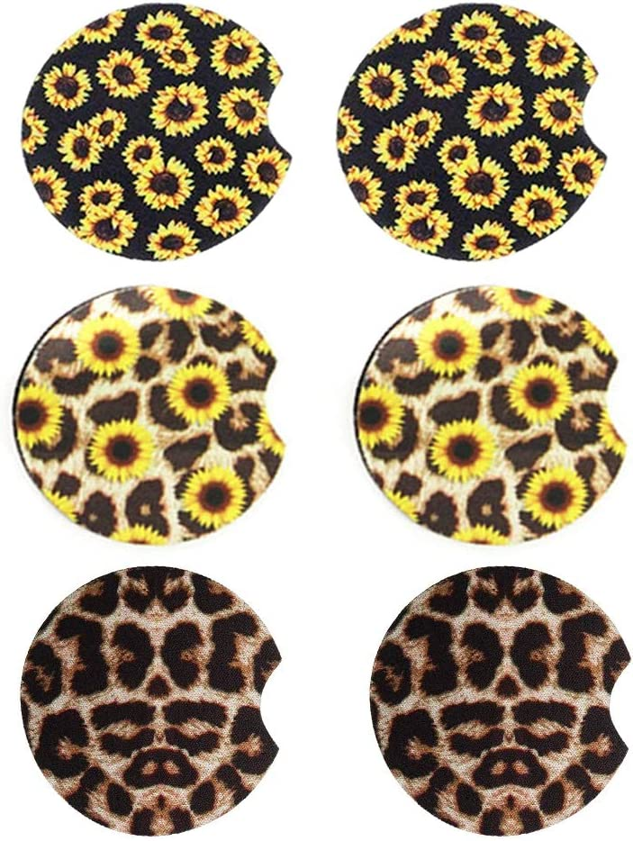 6Pcs Sunflower Car Coaster for Drink Leopard Car Coasters Neoprene Car Cup Holder Car Drink Cup Mat Mug Coaster Rubber Car Cup Pad Car Accessories