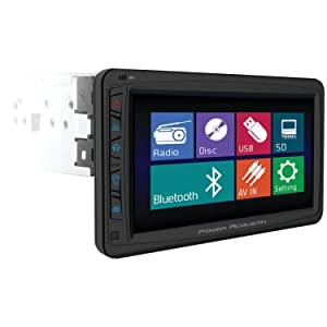 POWER ACOUSTIK PD-712 Single DIN Multimeadia Source with Detachable Motorized 7-Inch Oversize LCD Touchscreen