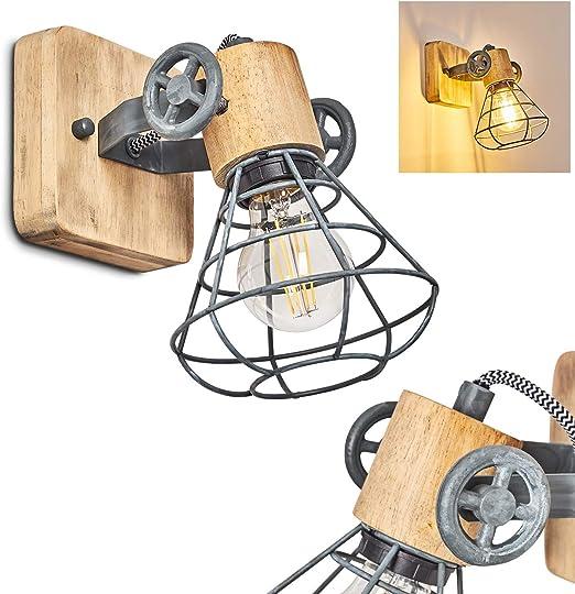 verstellbare Wandlampe aus Metall//Holz in Grau//Wei/ß//Braun Wandleuchte Orny f/ür LED Leuchtmittel geeignet 1-flammig Wandspot im Retro//Vintage Design 60 Watt 1 x E27 Fassung max