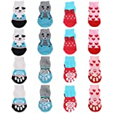 4 Pairs Anti-Slip Dog Socks&Cat Socks with Rubber Reinforcement, Pet Paw Protector for Hardwood Floors, Indoor Wear (M)