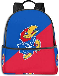 Kansas Jayhawks Backpack Durable Waterproof Anti-Theft Laptop Backpack Travel Backpack School Bag, Suitable for Boys and Girls School Backpacks