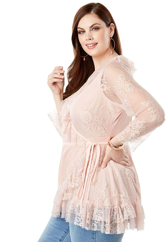 62233b2707e5b Roamans Women s Plus Size Lace Wrap Blouse at Amazon Women s Clothing store