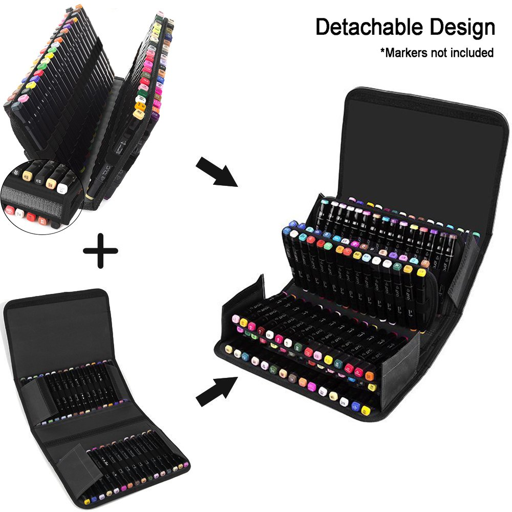 ADVcer Marker Case 120 Storage Holders, Foldable Extendable Oxford Organizer with Carrying Handle, Shoulder Strap, QR Buckle for Copic Marker, Prismacolor Marker, Dry Erase Color Paint Markers, Black by ADVcer (Image #3)