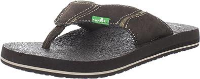 Sanuk Men/'s Fault Line Flip Flops Sandals SMS2893 Charcoal Black