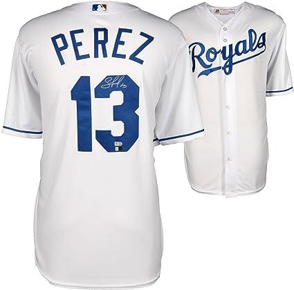 timeless design 40c0a 23a83 Salvador Perez Kansas City Royals Autographed White Replica ...
