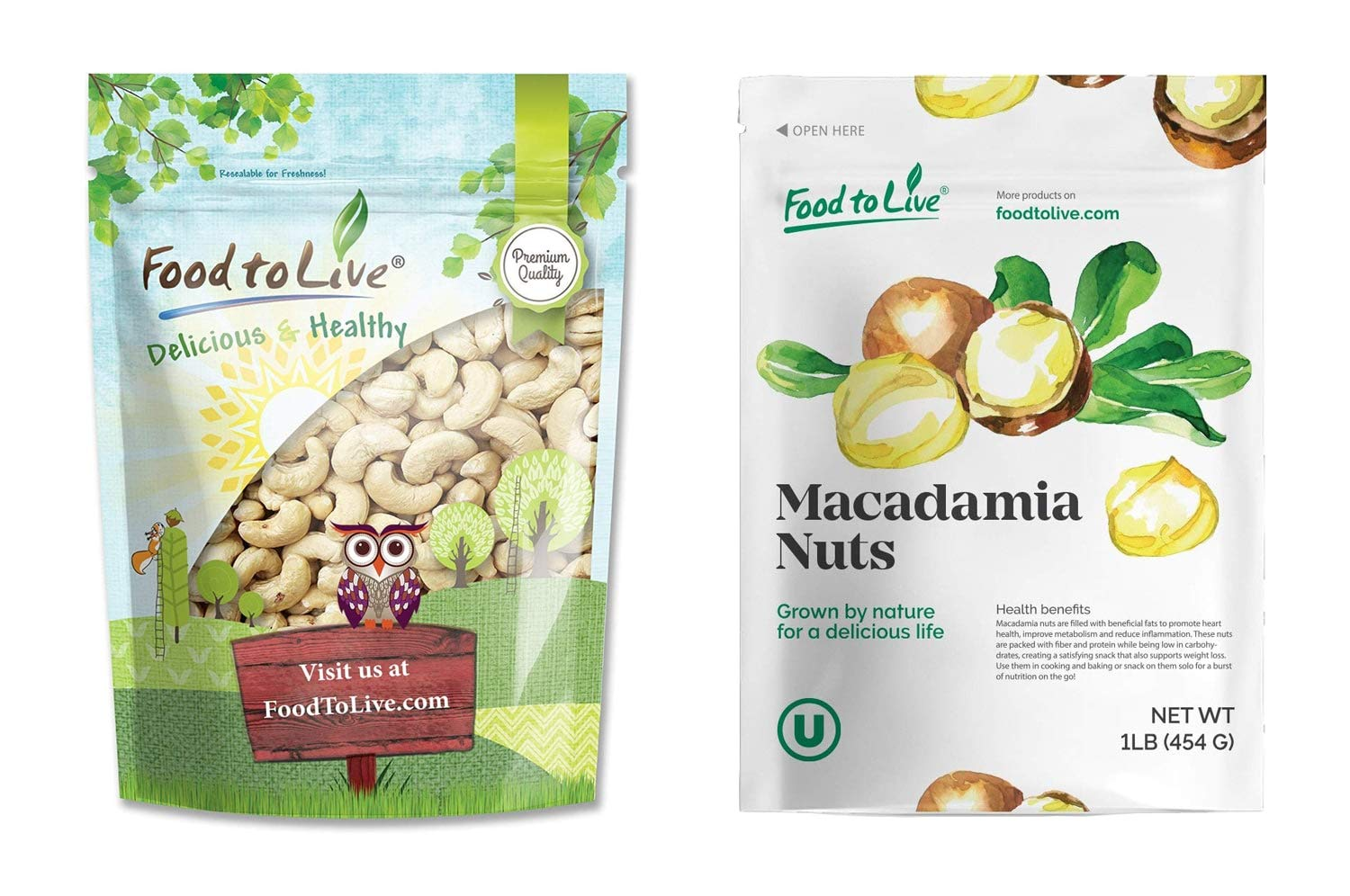 Raw Nuts Bundle - Raw Cashews, 1 Pound and Macadamia Nuts, 1 Pound - Raw, Kosher, Vegan