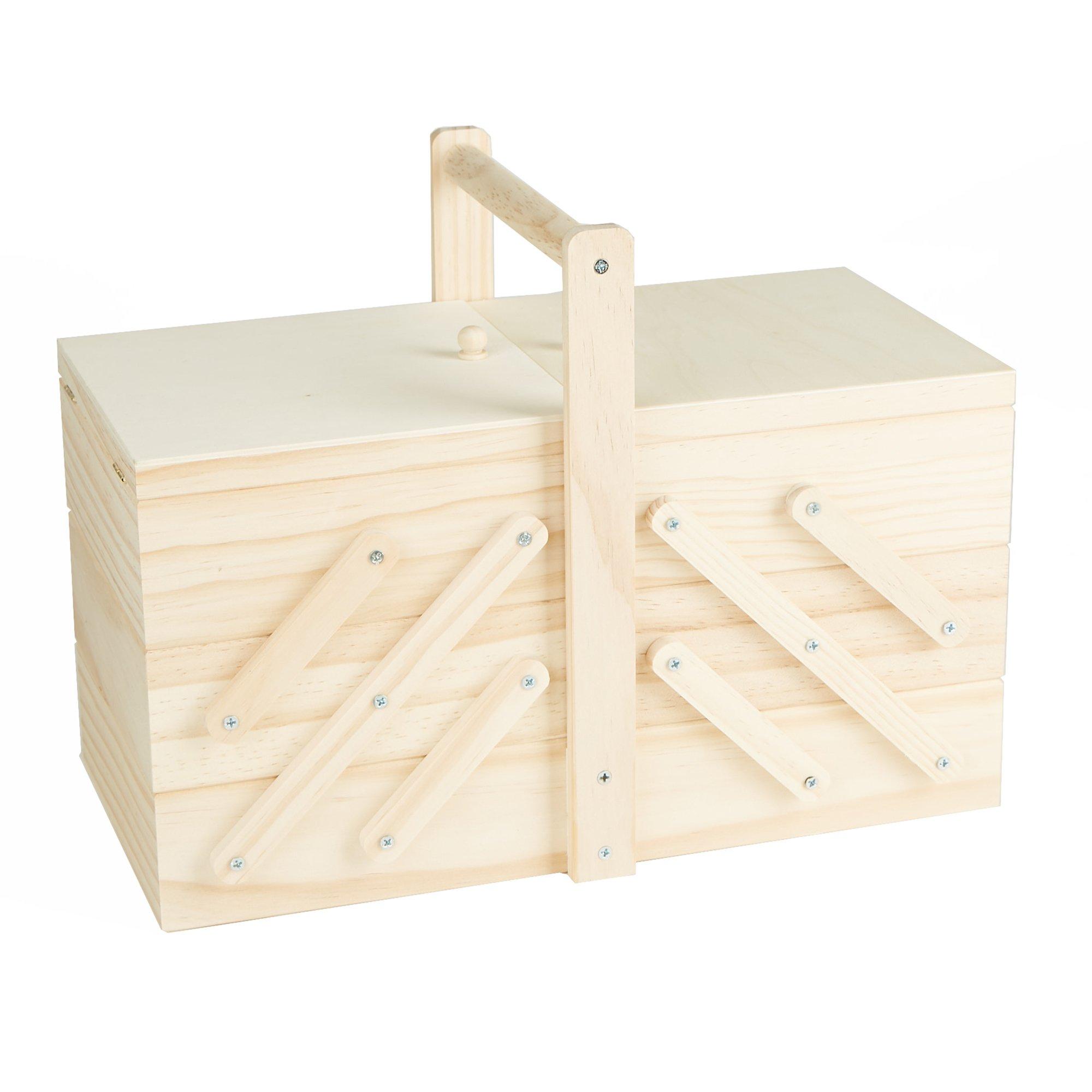 Mind Reader WSEWBOX-BRN Sewing Box Organizer, Needles, Thread, Scissors, Wood, Brown