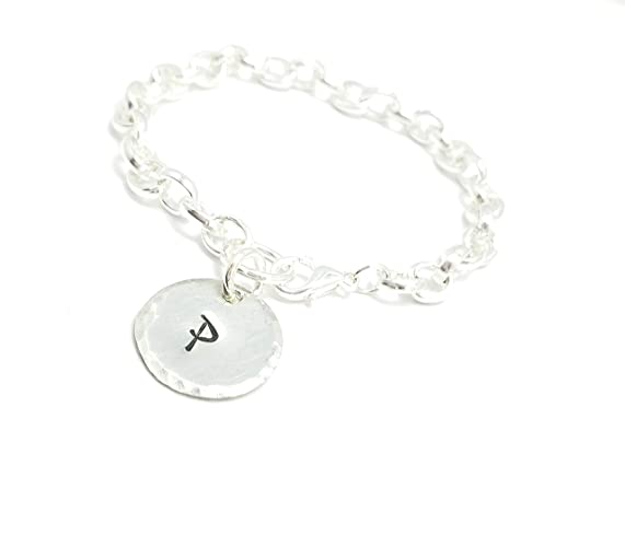 7e62eaed9 Charm Bracelet Personalized Daughter Women Wide Cuban Curb Link Bracelet  Silver Stainless Steel Chain Round Disc Charm David yurman Tiffany and co  mothers ...