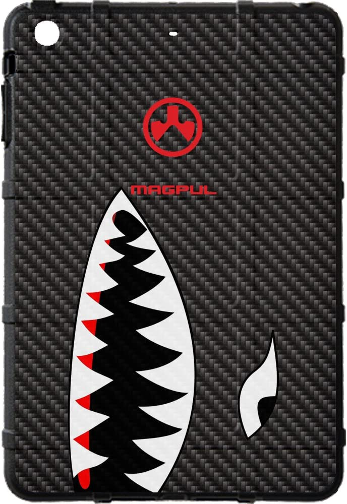 "EGO Tactical Limited Edition Design UV-Printed onto a MAG456 Field Case Compatible with Apple iPad Mini 1 & 2 (7.9"") Black Carbon Fiber Shark Teeth"